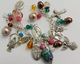 Catholic Charm Bracelet Holy Medals Saints  Blessed Mother Pink Blue 7.5 inch Ornate   Colorful Beaded Jewelry