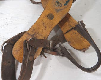 Wooster Wood Ice Skates Steel Blades Leather Straps Victorian Ice Skates