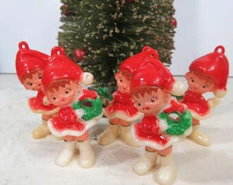 Vintage Christmas Girl Elf Figurines, Ornaments,  Lot of 5, Holiday Decor, Hard Plastic, Mid-Century