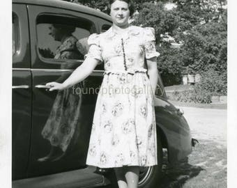Vintage Photo,  Black & White Photo,  Woman in Print Dress, Holding Vintage Car Door, Reflection in Car Window, Old Photo, 1940's Fashion