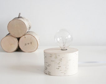 white birch wood lamp - modern rustic lamp, birch log lamp, desk lamp, table lamp, lighting, night light