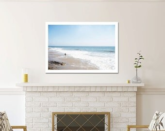 Large Beach Photography, Santa Barbara, Ocean Waves, Beach Wall Art, Large Art, Coastal Room Art, Blue White Decor, Surfer, Large Art Print