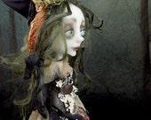 Aleuria The Mushroom Witch Woodland sad OOAK Art Doll Lulus Apple