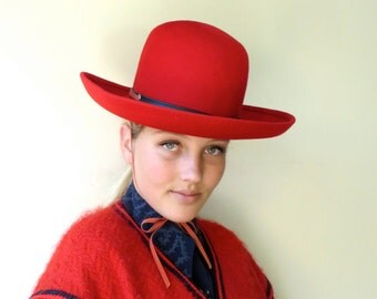 Vintage 1960's/Red Felt Hat with Large Brim/Red Felt Hat with High Crown/1970's Red Felt Hat/Ritz Henry Pollak