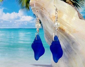 Cobalt blue seaglass beads conch shell earrings wire wrapped earrings beach tumbled glass earrings coastal jewelry