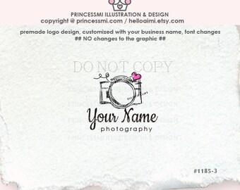 1185-3, photography logo, doodle camera logo, Custom Premade Logo Design, whimsical camera, sketch style