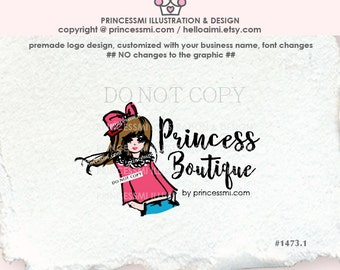 1473-1 girl logo, business card, banner, girl boutique logo, Premade Logo Design, sketch hand drawn lady girl headband