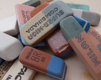 8 ANTIQUE ERASERS from past in Europe - Eraser selection served at random from shown - Rubber collection