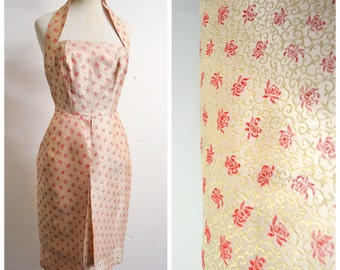 1950s Cream & red silk brocade halter neck wiggle dress / 50s boned pannier halterneck cocktail dress - XS