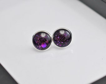 Purple Stud Earrings, Dark Purple Earrings, Purple Glitter Studs, Faux Plugs, Glitter Earrings, Silver Stud Earrings, Stud Earrings