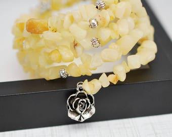 Yellow Wrap Bracelet, Memory Wire Bracelet, Beaded Bracelet, Stone Bracelet, Wrap Bracelet, Beaded Wrap Bracelet, Yellow Bracelet, For Her