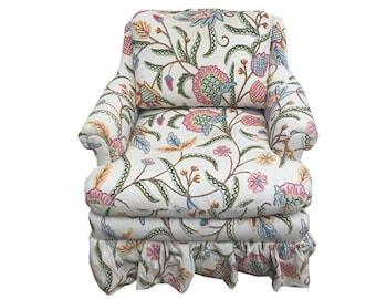 Rocking Chair Crewel Upholstered Arm Chair Nursery Living Room Bedroom Chair Vintage