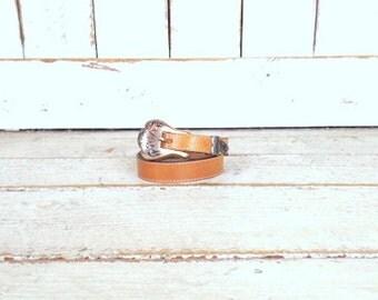 Vintage tan brown Southwestern style  leather belt/leather boho festival belt/xsmall/small