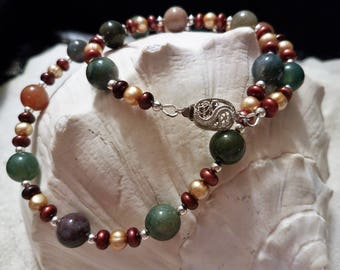 Freshwater Pearl and Fancy Jasper Necklace with Coordinating Earrings