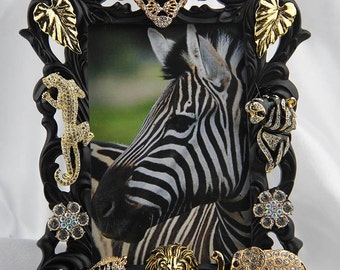 Gorgeous Sparkling Rhinestone and Crystals, African Animal Jewelry Picture Frame, All Occasion
