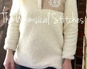 Monogrammed Sweatshirt | Quarter Zip Pullover | Monogrammed 1/4-zip sweatshirt | Preppy Sweatshirt | Initial Sweatshirt Sherpa, Pullover