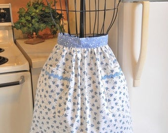 Vintage Style Half Apron with Blue Roses