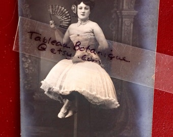 French Belle Epoque Antique Photo Postcard - Woman with Fan -  Alfreda Brevet 1906