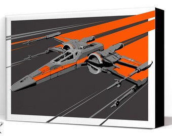 Star Wars Canvas - The Force Awakens X-Wing Fighter - Star Wars Art, large Canvas Art Print, fan art illustration, Star Wars gift