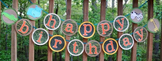 Jungle Birthday Banner Safari Happy Birthday Sign Zoo 1st Birthday Party Decoration Jungle Animal Banner Go Wild  Party Animal READY TO SHIP