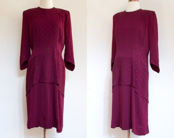 vintage 1940s burgundy peplum dress / 40s rayon wine oxblood dotted dinner dress / M -L