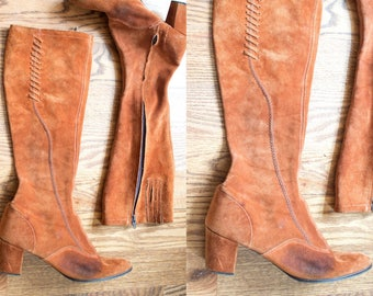 vintage 1960s suede knee high boots / 60s 70s rust brown suede heeled go go boots / 8.5