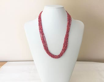 Red Pink Orange Beaded Necklace, Red Seed Bead Necklace, Pink Seed Bead Necklace, Orange Seed Bead Necklace, Valentines Day Necklace