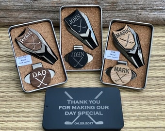 GROOMSMEN Gifts Set,Groomsmen Gift Box Ideas,Personalized Engraved Golf Ball Marker,Groomsman Usher Best Man Gift,Father of Bride Groom Gift