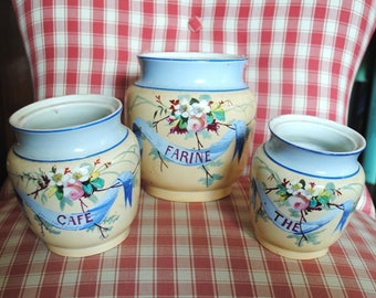 Antique French Ceramic CANISTERS CREIL MONTERAU Ribbons & Roses hand painted