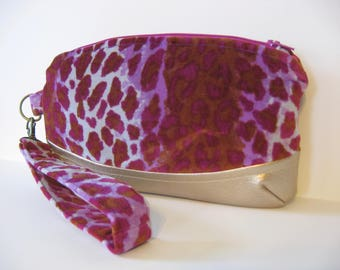 Shades of Purple Velveteen Velvet Leopard and Gold Metallic Zipper Clutch Wristlet Bag
