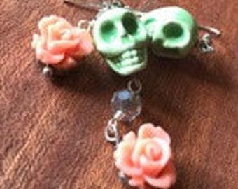 Day of the Dead Sugar Skull and Flower Earrings