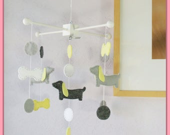 Dachshund Dog Mobile, Puppy Baby Mobile, Modern Nursery, Polka Dot Baby Mobile, Wiener Dog Mobile, Light Yellow Gray and White theme