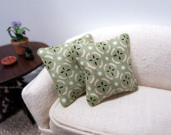 Pale green sand dollar pillows - set of two - dollhouse miniature