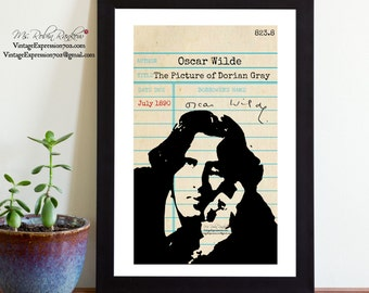 Oscar Wilde, The Picture of Dorian Gray, Vintage Library Card Art, Book Art, Silhouette Print