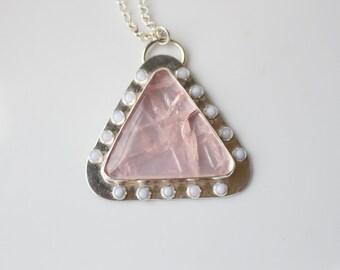 Rose Quartz Necklace with Blue Lace Agate // Chunky Rose Quartz Statement Necklace / Triangle Necklace / Long Statement Necklace Sterling