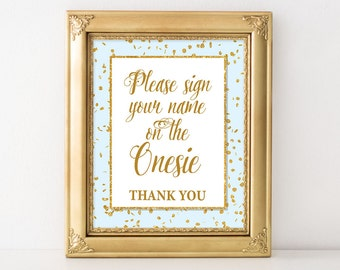 Please Sign the Onesie Sign, Blue & Gold Glitter Shower Sign, Baby Boy Shower Sign, 2 Sizes, DIY Printable, INSTANT DOWNLOAD