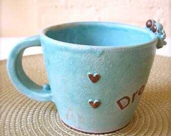 One of a kind, Dreams Come True - Lovely Twin Angel Turquoise Mug, Handmade Ceramic Mug