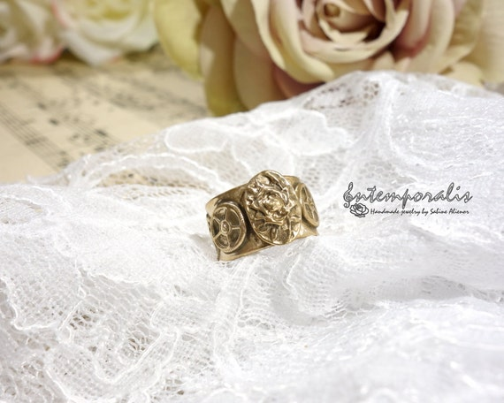 Adjustable steampunk and rose pattern bronze ring, OOAK,SABA09