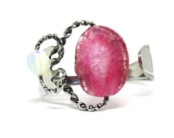 Fork Bracelet With Stone, Pink Stone Cuff, Women, Men, Mirror Finished, BLB 30