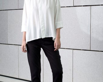 White loose blouse, oversize, sheer buttoned down, summer top, formal minimal blouse, asymmetrical shirt, long shirt, new elegant top
