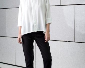 White loose blouse, oversize, sheer buttoned down, summer top, formal minimal blouse, asymmetrical shirt, long shirt, new elegant top