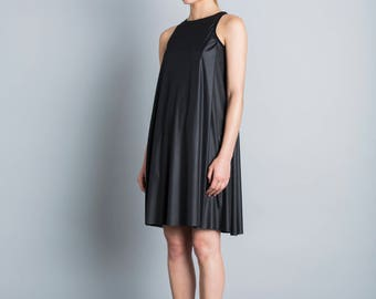 Black prom dress, minimal summer dress, knee length dress, sleeveless party dress, loose fit pocket dress, modern layer dress, sporty neck