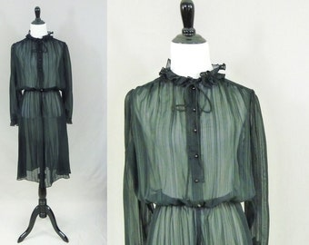 70s Sheer Black Dress - Ruffle Granny Neck - Full Skirt - Vintage 1970s - M
