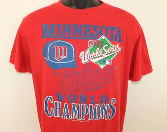 Minnesota Twins 1987 World Champions vintage t-shirt Short M/L red 80s MLB baseball