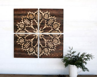 Large Wood Burned Wall Art  - Flower and Leaves 32 X 32 inches