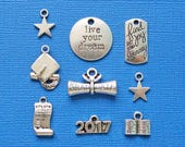 Graduation Charm Collection Antique Silver Tone 9 Different Charms Class of 2017 - COL195