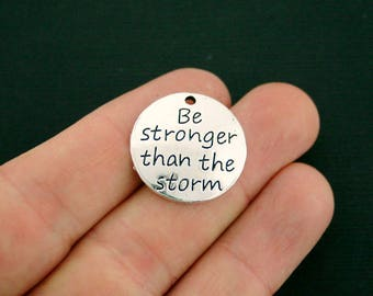4 Stronger Charms Antique Silver Tone - Be stronger than the storm - SC7004