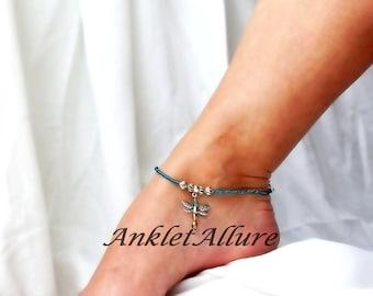 Blue Dragonfly Anklet Dangle Ankle Bracelet Cruise Jewelry Beach Anklet Body Jewelry Resort Jewelry