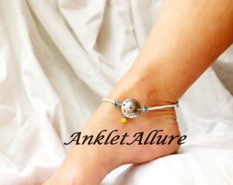 You Are My Sunshine Beach Anklet Sun Burst Ankle Bracelet Yellow Anklet Cruise Accessories Body Jewelry Foot Jewelry