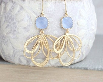 Periwinkle Blue Earrings Something Blue Glass Earrings Bridesmaids Gift For Her Filigree Earring Nickel Free Pastel Light Blue Dangle